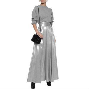 Diane Von Furstenberg pleated lame maxi skirt.